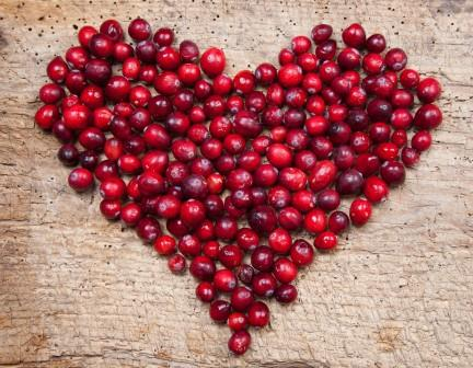 cranberry in the shape of a heart
