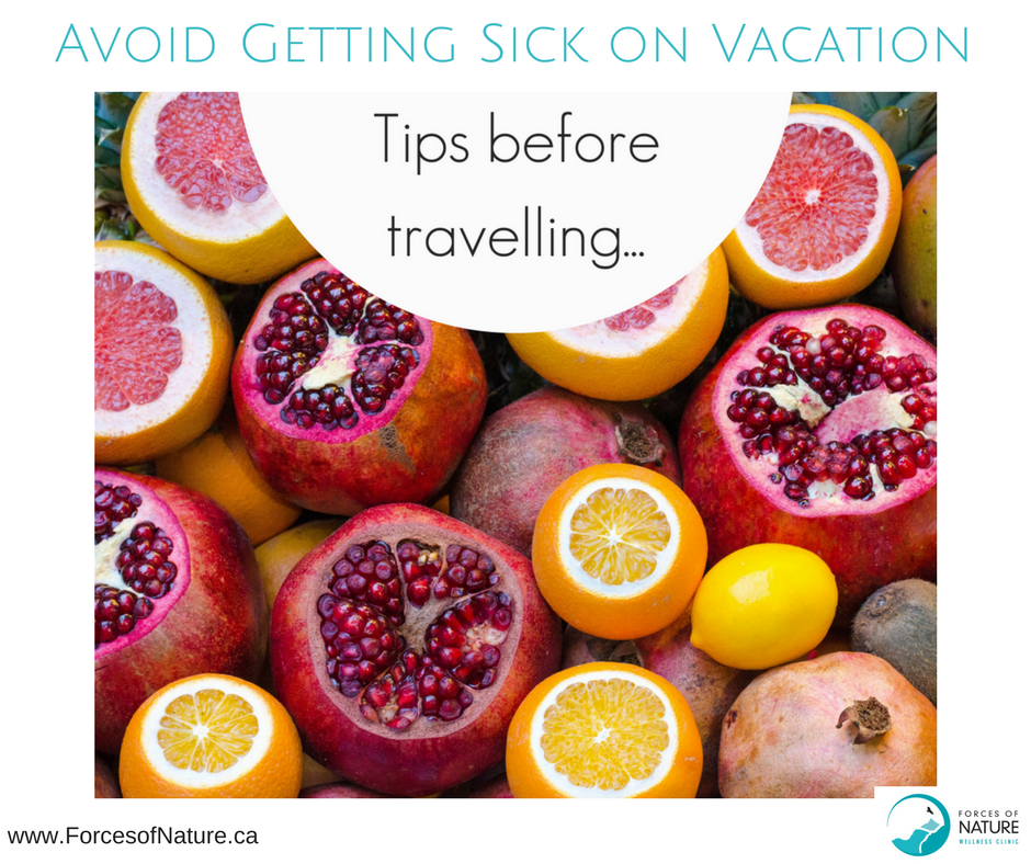 tips on how to avoid getting sick while travelling, showing healthy fruit