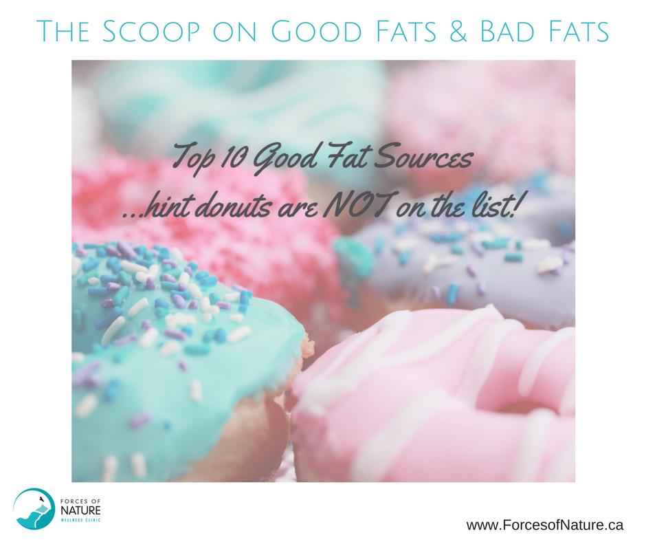 pic of doughnuts showing bad fats with caption for the top 10 good fats