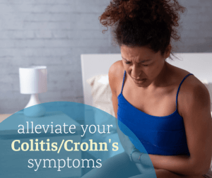 picture of a woman with abdominal pain and cramps from Crohn's and colitis