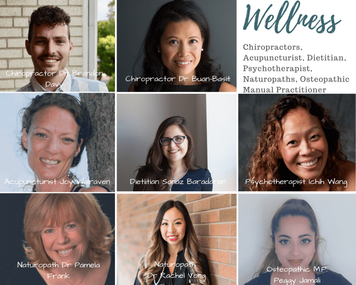 picture of a wellness clinic chiropractor, acupuncturist, dietitian, psychotherapist, naturopathic doctor and osteopath