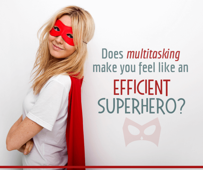 woman dressed like a superhero thinking that multitasking improves her productivity