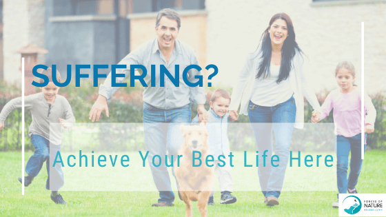Picture of a happy, healthy, family with words that if you are suffering, our wellness professionals will help you live your best life when you visit our wellness clinic.