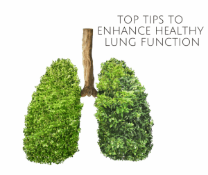picture of lungs that says top tips to enhance healthy lung function